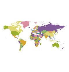 Political map worlds countries on colored graphic vector