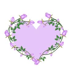 Purple Roses Flowers in A Heart Shape vector