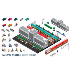 Railway station constructor set vector
