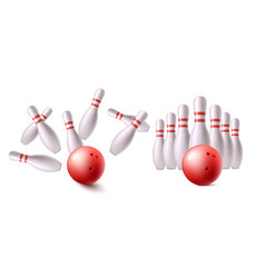 red bowling ball before and after hitting strike vector image