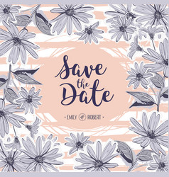 save the date lettering wedding card floral frame vector image