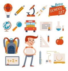 School Icon Set Graphic Designs on White vector image