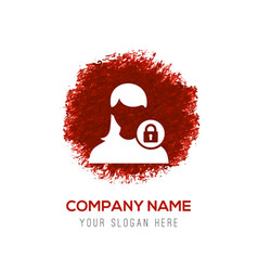 secure user icon - red watercolor circle splash vector image