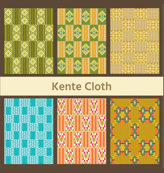 Set of african seamless patterns kente cloth vector