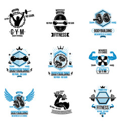 set of cross fit and fitness theme emblems and vector image