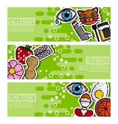 Set of Horizontal Banners about allergy vector