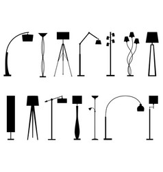 Set silhouettes floor lamps vector