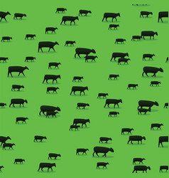Sheep goats and cows and walking on green pasture vector