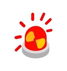 Siren red flashing emergency light isometric icon vector