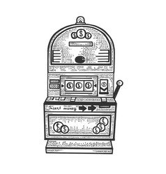 Slot machine gambling device sketch vector