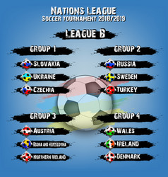 Soccer team group set nations league vector