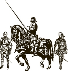 Soldiers and Knight on a Horse vector