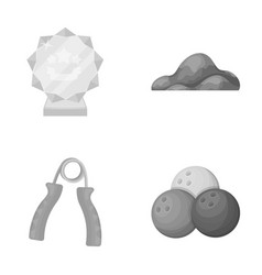 Sport fitness and other monochrome icon in vector