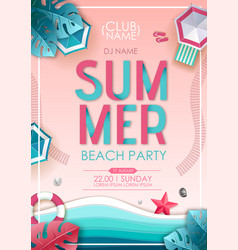 Summer beach party poster top view vector