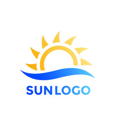 Sun and wave logo element vector