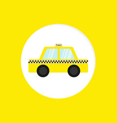 taxi car cab round icon cartoon transportation vector image