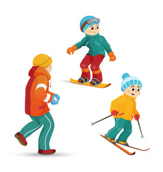 Teen boys skiing snowboarding playing snowballs vector