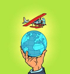 Tourist flight on a seaplane recreation vector