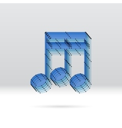Transparent music note with dotted scheme vector image