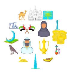 Uae icons set cartoon style vector