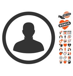 User icon with love bonus vector