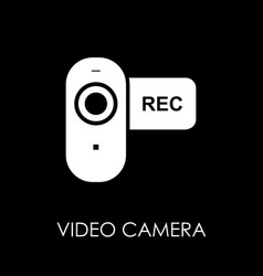 Video camera icon symbol flat style vector