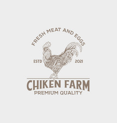 vintage logo chicken farm with hand drawn style vector image