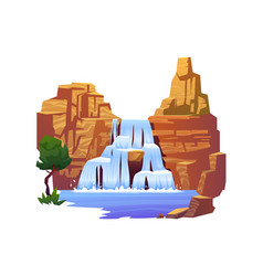 Waterfall landscape rapid river in rocky mountains vector