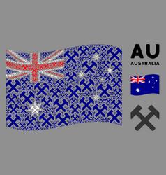 waving australia flag mosaic hammers items vector image