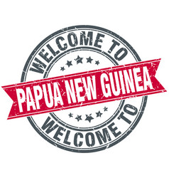 Welcome to papua new guinea stamp vector