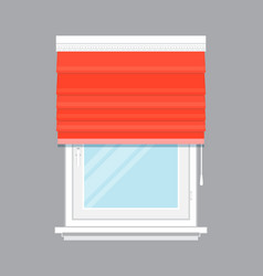 window with red roll curtain isolated vector image