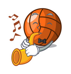 with trumpet volleyball mascot cartoon style vector image