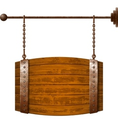 Barrel shaped wooden signboard on rusty chains vector image vector image