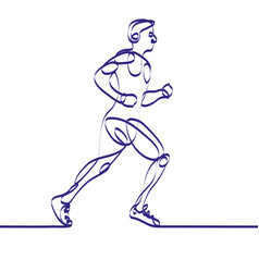 continuous line drawing of runner -variable line- vector image