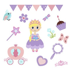 Princess design elements vector image