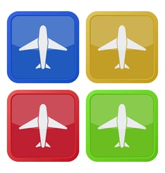 set of four square icons with airplane vector image vector image