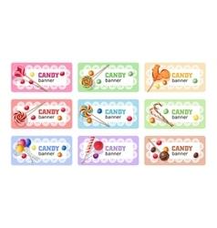 Set of sweet lollipop banners vector