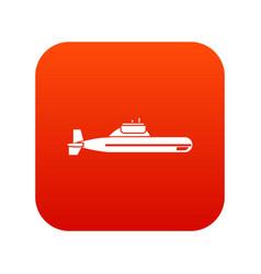 submarine icon digital red vector image