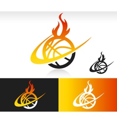 Fire Swoosh Basketball Logo Icon vector image
