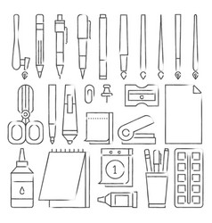line stationery icons set vector image vector image