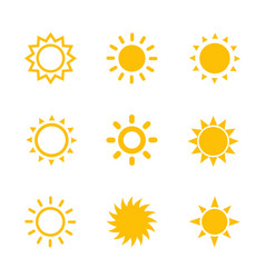 sun icons set on white vector image vector image