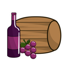 barrel and bottle wine with grape fruit vector image vector image