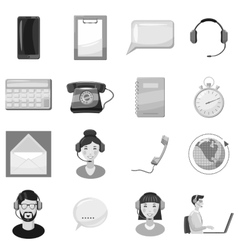Call center service icons set vector image vector image