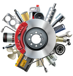 Car Spares Concept with Disk Brake vector image vector image