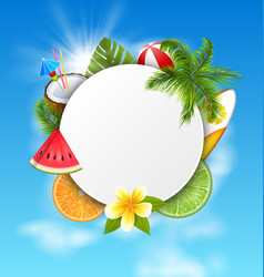 clean card with coconut cocktail slice watermelon vector image