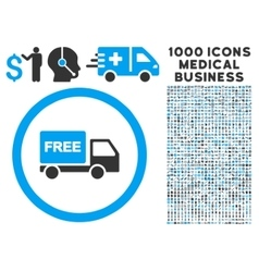 Free Delivery Rounded Icon With Medical Bonus vector image vector image