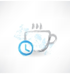 Time to drink coffee grunge icon vector image