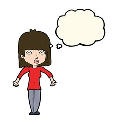 cartoon woman shrugging with thought bubble vector image vector image