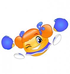 cheerleader emoticon vector image vector image