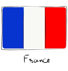 France flag doodle vector image vector image